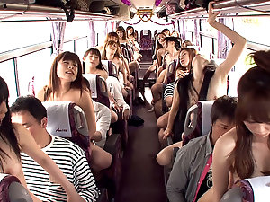 Crazy Japanese group sex in the bus with facial cumshot