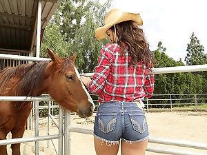 Brunette cowgirl sucks a giant meat pole in the bard